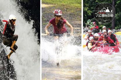 EXTREME COMBO Waterfall Jumping Biking Rafting